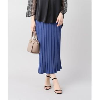 La Totalite リブニットマキシスカート◆ ブルー フリー