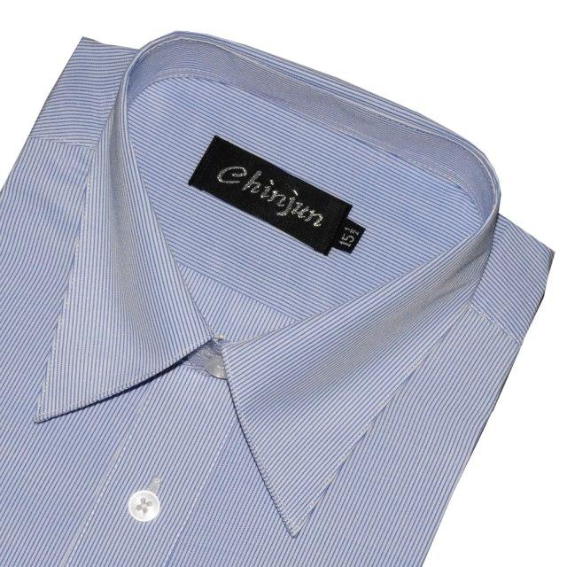 CHINJUN商務抗皺襯衫長袖、藍細條紋