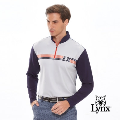 【Lynx Golf】男款保暖舒適刷毛後背Lynx字體長袖立領POLO衫-深藍色