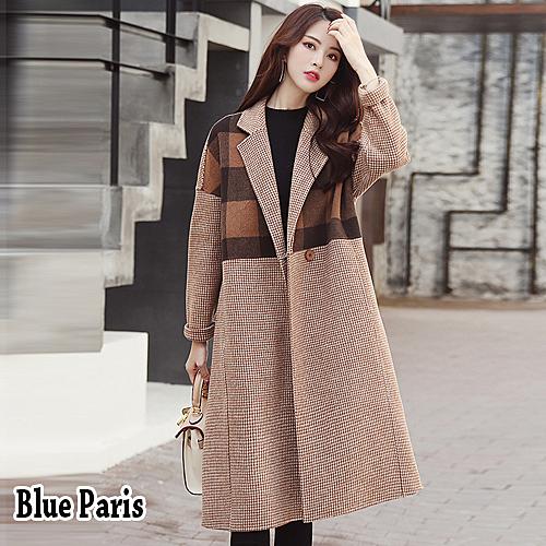 【藍色巴黎 】 秋冬時尚拼接格紋加厚中長版毛呢外套 西裝外套 《M / L》【28847】