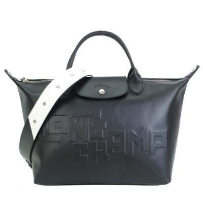 LONGCHAMP Le Pliage Cuir LGP系列小羊皮壓印短把寬背帶折疊水餃包(中/黑)