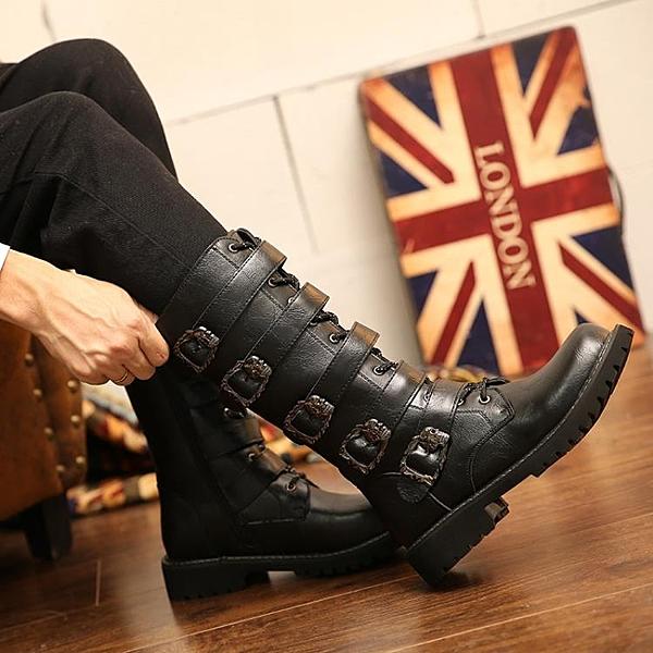 男靴 2020夏季新款特大碼皮靴46男長靴45馬丁靴朋克靴子