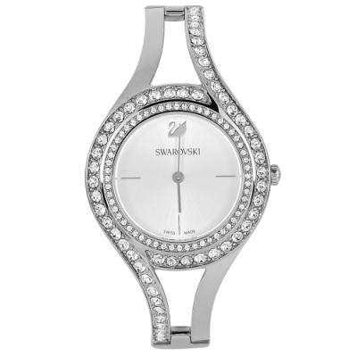 SWAROVSKI 施華洛世奇 Eternal璀璨水晶流麗金屬鍊帶腕錶 銀色 30mm 5377545