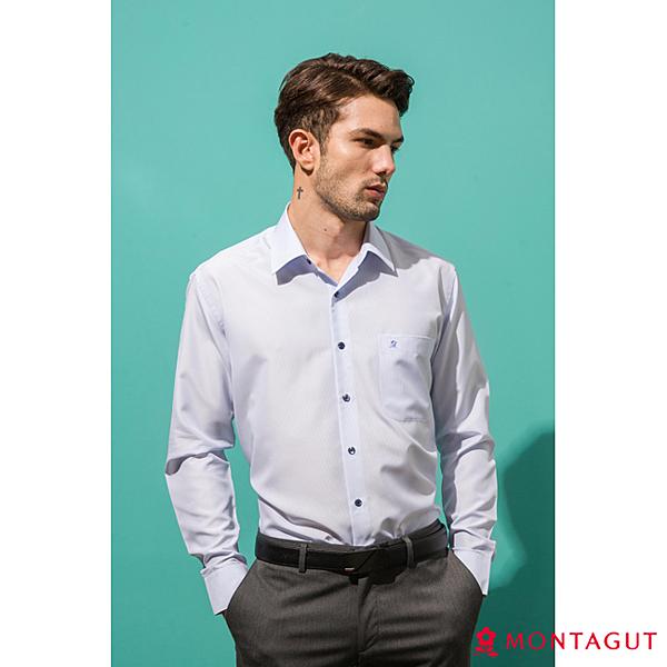 襯衫男款長袖 夢特嬌 素面直條款_白底藍條紋