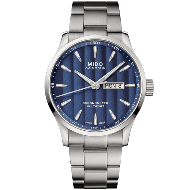 MIDO 美度 Multifort 先鋒80小時天文台矽游絲機械錶/藍x銀/42mm/M0384311104100