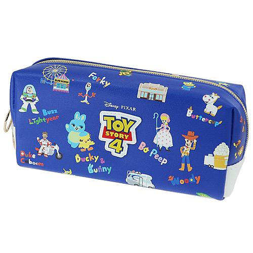 Kamio 雙拉鍊大開口筆袋 化妝包 收納包 玩具總動員4 主題樂園 深藍_KM17386