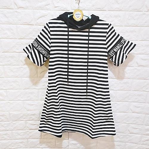 棒棒糖童裝(B6849)夏女大童黑白條紋休閒款迧帽洋裝 120-160