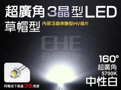 EHE】ST5H16W5】3晶超爆亮5mm廣角160°大晶草帽型LED(5700K中性白光)。適搭T5燈座自製儀表板燈