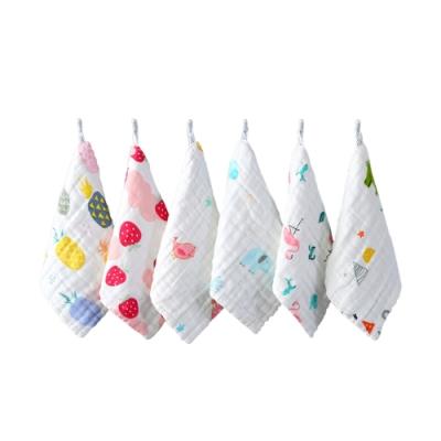 colorland【8入】兒童口水巾六層紗高密褶皺餵奶巾小方巾(30*30cm)