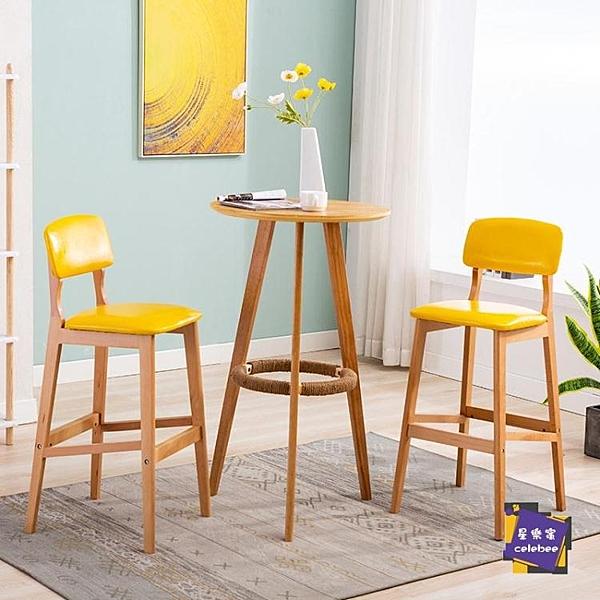 吧台桌 金牌賣家實木高腳桌簡約高腿小圓桌咖啡桌家用吧台桌吧台桌椅組合T