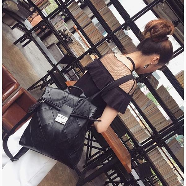 新款時尚羊皮拼接後肩包女韓版百搭鎖扣背包大容量旅行軟皮包 有緣生活館