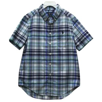 Ralph Lauren 大童小馬格子短袖襯衫-藍色
