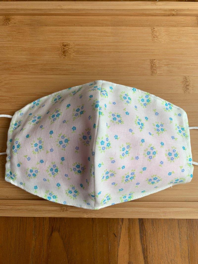 文青風環保進口雙層紗透氣布口罩套 清新小花  白底