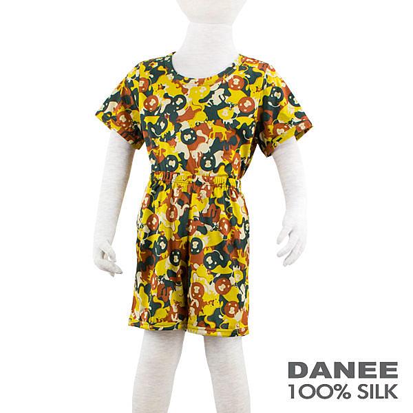 【岱妮蠶絲】兒童棕色動物園休閒蠶絲套裝(100-120cm)