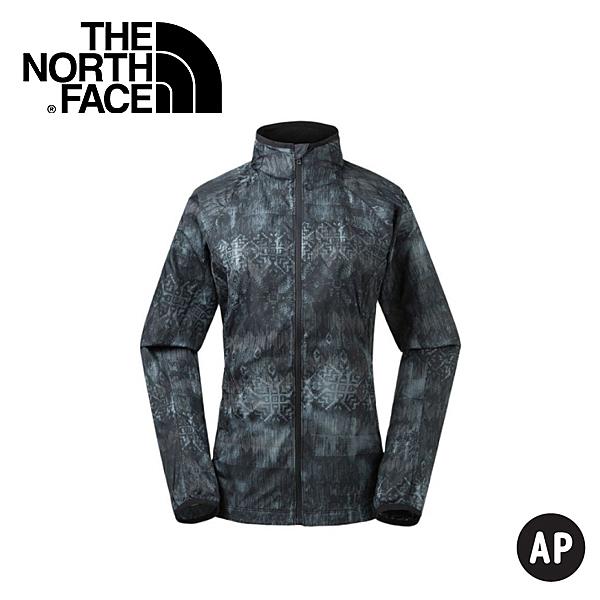 【The North Face 美國 女 防風防潑水外套《黑色印花》】3GEJ/防潑水/印花/外套/風衣/休閒