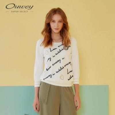 OUWEY歐薇 可愛狐狸字母亮片針織上衣(白)