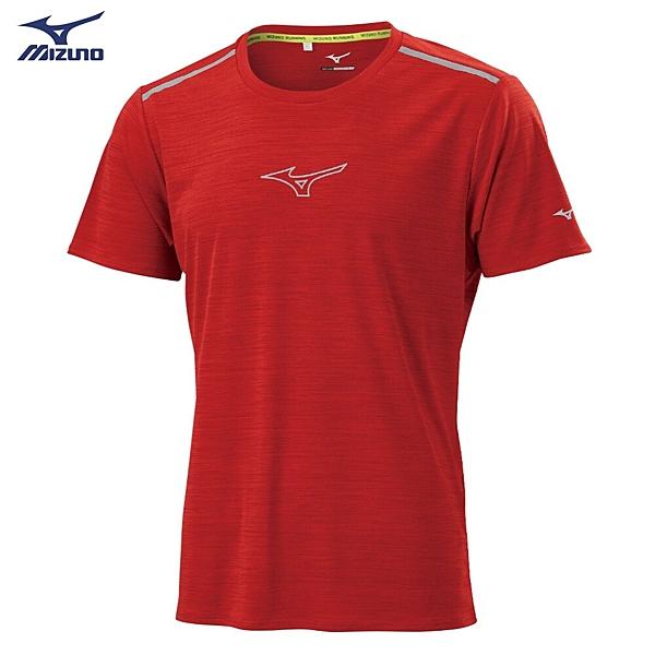 MIZUNO 男裝 短袖 T恤 慢跑 路跑 吸汗快乾 前胸反光 後領反光圈 紅【運動世界】J2TA000363