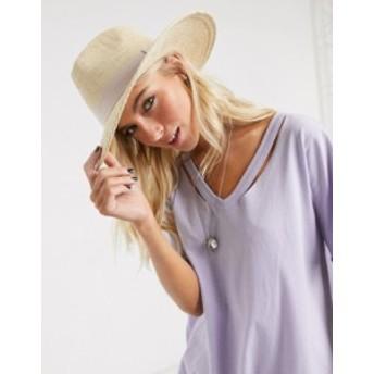 エイソス レディース 帽子 アクセサリー ASOS DESIGN straw fedora hat with light band Natural
