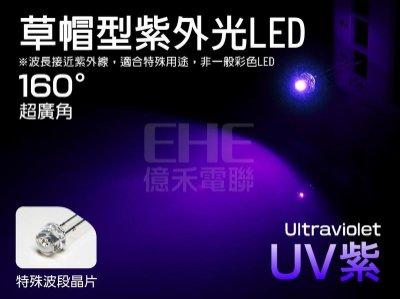 OS】S5H16U3】廣角草帽型UV紫外線LED 395-400nm 5mW。適螢光塗料PCB感光電路板曝光UV膠固化