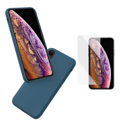 [買手機殼送保護貼] iPhone XS Max 暮夜藍 液態 矽膠 手機保護軟殼 (iPhoneXSMax手機殼 iPhoneXSMax保護殼 )
