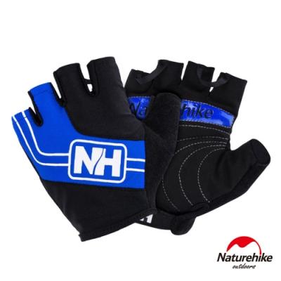 Naturehike 脫環加厚耐磨戶外運動騎行半指手套 藍色-急