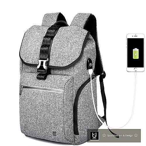 【US.STYLE】首爾風尚防潑水街頭充電後背包(品味灰)