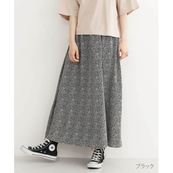 (merlot/メルロー)レオパード柄ポプリンギャザーマキシスカート/レディース ブラック