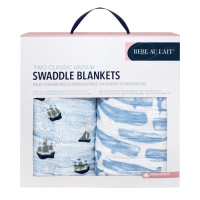美國 Bebe Au Lait 經典棉紗布包巾2入禮盒(帆船小鯨魚)