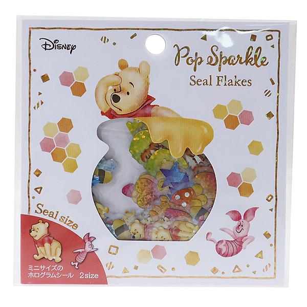 Kamio 閃亮造型散裝貼紙包 手帳貼 裝飾貼 迪士尼 小熊維尼 蜂蜜罐 白_KM24576