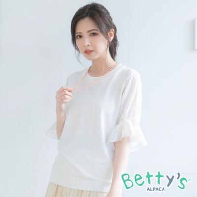 betty's貝蒂思 袖身雪紡拼接針織衫(白色)