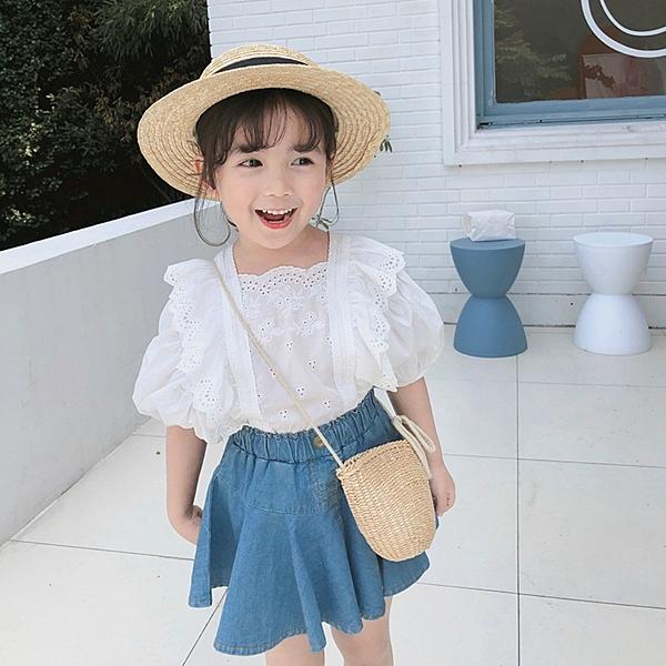 *╮小衣衫S13╭*女童夏季秀氣花邊蕾絲公主袖白色上衣1090306
