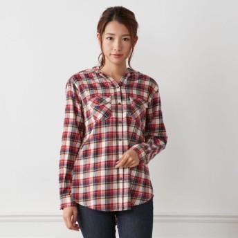大人の女性のためのフード付きチェックシャツ ネイビー S(7AR) M(9AR) L(11AR) LL(13AR) 3L(15AR)