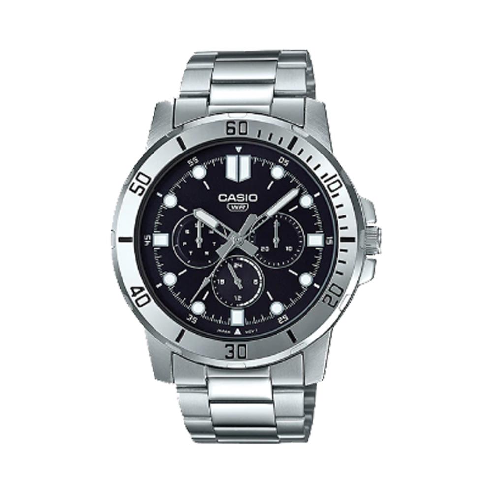 【CASIO 卡西歐】指針男錶 不鏽鋼錶帶 黑色錶面 日期顯示(MTP-VD300D-1E)