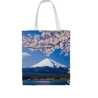 富士山 ふじさん レディースキャンバス トートバッグ 収納バッグ エコバッグ ショルダー バッグ 肩掛け 大容量 通勤 通学 旅行 ショッピング 両面印刷
