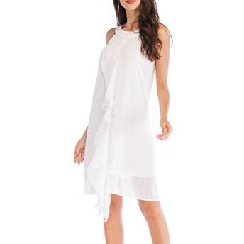 服装やアクセサリー ドレス CZサイズ:S(ホワイト)、シフォン色の強いストラップレスノースリーブベスト飾ります (色 : 白, サイズ : S)