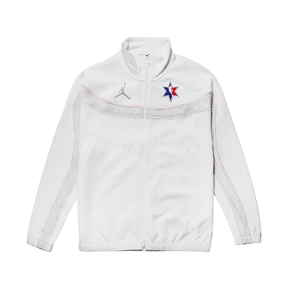 Nike 外套 All-Star Jordan NBA Full-Zip Game Jacket 白 藍 紅 男款 籃球 明星賽 【ACS】 CQ4479-100