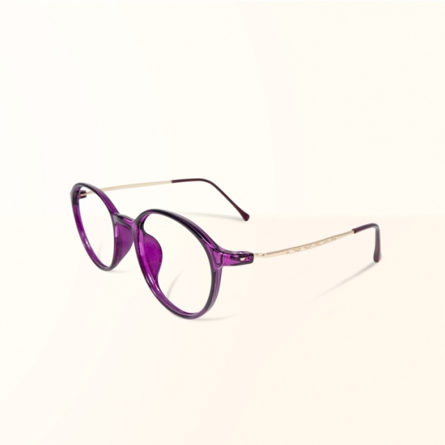 【ALEGANT】韓星時尚網紅復古桔梗紫TR90輕量圓框金屬鏡腳UV400濾藍光眼鏡