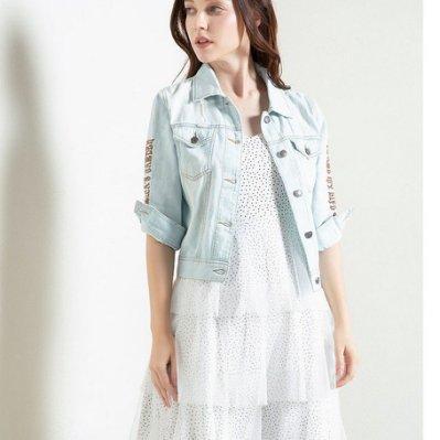 Fashion*七分袖牛仔外套 韓版刺繡牛仔上衣ins薄款外套『淺藍色』