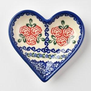 波蘭陶 漫野薔薇系列 愛心醬料碟 波蘭手工製