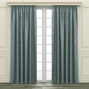 HOLA 銀河緹花隔熱背膠全遮光落地窗簾 270x165cm 藍綠色