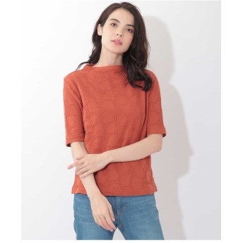 GIANNI LO GIUDICE 【手洗い・日本製】絞り加工五分袖カットソー Tシャツ・カットソー,オレンジ