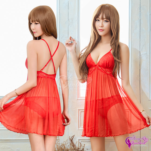 【Sexy Cynthia】性感睡衣 豔紅蕾絲美背薄紗二件式連身睡衣裙