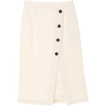 【6,000円(税込)以上のお買物で全国送料無料。】・ボタン付きスリットスカート