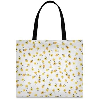 Akiraki トートバッグ レディース イエロー 黄色 花柄 エレガント 可愛い かわいい ホワイト 大容量 エコバッグ ハンドバッグ バッグ 旅行 通学 通勤 軽量 おしゃれ かわいい 防水 肩掛け 誕生日 プレゼント