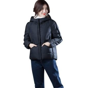 ChenHuis 女子ソフト太いダウンジャケットプラスサイズショート薄いコート (Color : Caramel colour, Size : L)