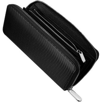 財布 メンズ 長財布-牛革紳士大容量 ビジネス ウォレット 小銭入れカーボンファイバーYKK製 セパレート型
