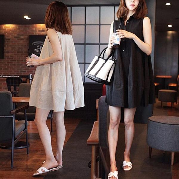無袖洋裝  棉麻連身裙韓國寬鬆休閒a字娃娃裙小清新公主裙