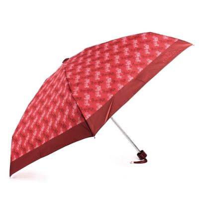 COACH 經典滿版馬車LOGO晴雨傘-櫻桃紅