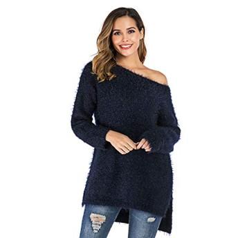服装やアクセサリー 女性の服装 セーター CZストラップレスワードショルダーセーターコート (色 : Navy Blue, サイズ : S)