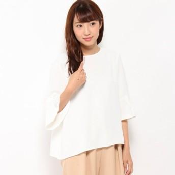 大人の女性の為の着まわし抜群フレア袖プルオーバー ホワイト S M L LL 3L